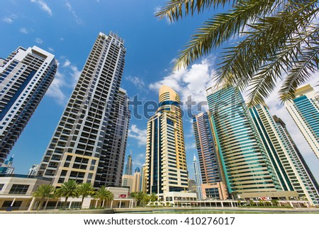 DUBAI, UNITED ARAB EMIRATES - MARCH 5, 2016: Modern and luxury Dubai Marina skyscrapers,Dubai,United Arab Emirates