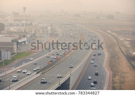 Dubai, United Arab Emirates - May 26 2017: View on busy highways happen daily before reaching dubai downtown.