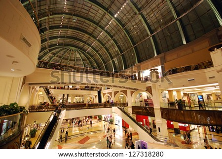 DUBAI, UNITED ARAB EMIRATES - NOVEMBER 30: Mall of the Emirates November 30, 2011 in Dubai, UAE. This is the second largest mall in Dubai containing the biggest indoor ski slope in the world. - stock photo