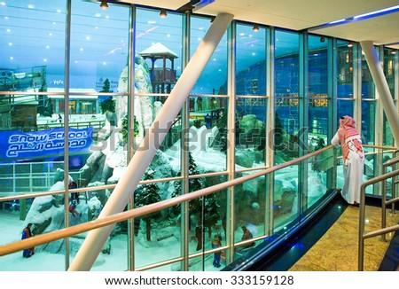 Dubai, United Arab Emirates - November 13 2006: The famous skiing track in the Mall of Emirates shopping center - stock photo