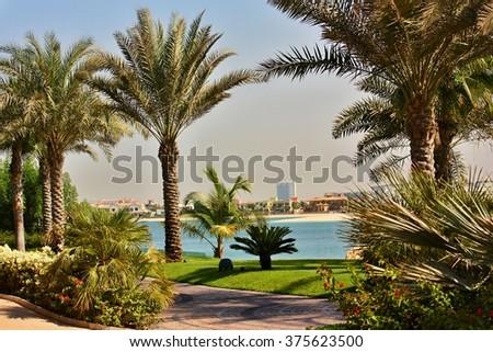 DUBAI, UNITED ARAB EMIRATES - October 21, 2014: The Aquaventure waterpark of Atlantis the Palm hotel, located on man-made island Palm Jumeirah in Dubai, on October 21, 2014 - stock photo