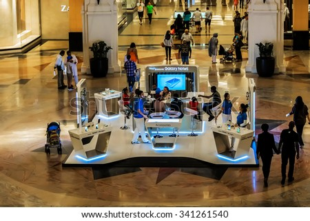 DUBAI, UNITED ARAB EMIRATES - SEPTEMBER 6, 2015: Interior of Mall of the Emirates. This is the second largest mall in Dubai containing the biggest indoor ski slope in the world.
