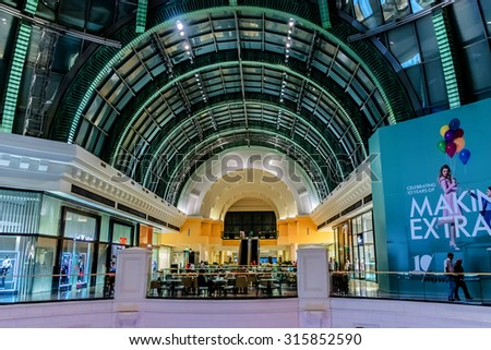 DUBAI, UNITED ARAB EMIRATES - SEPTEMBER 6, 2015: Mall of the Emirates view. This is the second largest mall in Dubai containing the biggest indoor ski slope in the world. - stock photo
