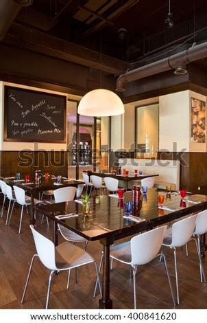 Dubai, United Arab Emirates, 06/06/2015, Urbano Italian Restaurant, Dubai Mall, souk al bahar, Downtown Dubai. - stock photo