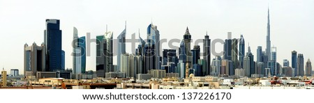 Dubai. World Trade center and Burj Khalifa - stock photo