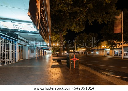 Dubbo, Australia - December 23, 2016: The main street in Dubbo town by night, decorated to celebrate Christmas and New Year. Dubbo are developing dramatically recently.
