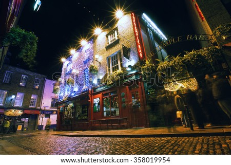 DUBLIN - Dec 18th, 2014 - Temple Bar is the most famous historic landmark in Dublin's city center. It has been in operation since 1840 and is one of the busiest bars in Europe.