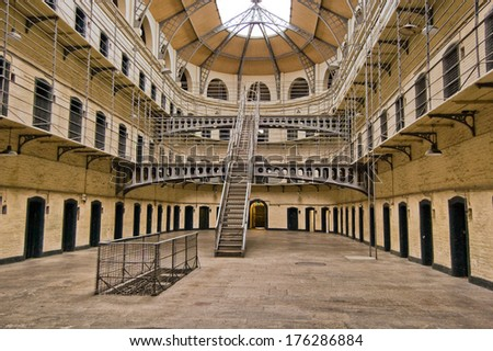 DUBLIN, IRELAND - APR 12: Kilmainham Gaol was a prison located in Dublin, which is now a museum, where many leaders of Irish rebellions were imprisoned and executed, on April 12, 2009, Dublin, Ireland - stock photo
