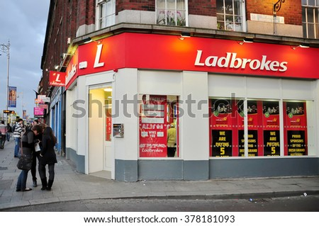 DUBLIN IRELAND - APRIL 16, 2011 : Ladbrokes branch in Dublin, Ireland. Ladbrokes plc is a British-based betting and gambling company. It is based in Rayners Lane in Harrow, London.