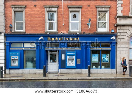 DUBLIN, IRELAND - AUGUST 14, 2015: A branch of the Bank of Ireland. In 2014 the group generated an underlying profit before tax of Euro 921 million, Euro 1.5 billion better than 2013.