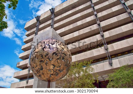 Dublin, Ireland - August 1, 2015: Central Bank of Ireland - stock photo