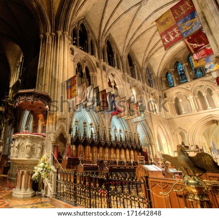 DUBLIN, IRELAND - JANUARY 12, 2014: Interior of St. Patrick's cathedral. - stock photo