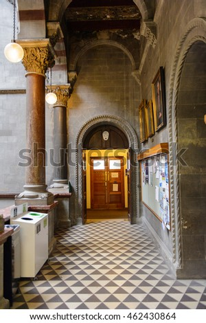 DUBLIN, IRELAND - JULY 12, 2016: Interior of the Archaeological faculty of the Trinity college, University of Dublin, a research university in Ireland. The college was founded in 1592