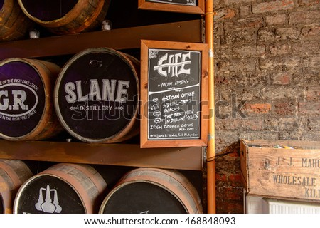 DUBLIN, IRELAND - JULY 12, 2016: Irish whiskey museum in Dublin. It's a popular touristic destination.