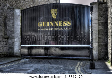 DUBLIN, IRELAND - MAY 25: a gate at the Guinness Storehouse on May 25, 2013 in Dublin, Ireland. The Guinness Storehouse is a popular tourist attraction with 1,087,209 visitors in 2012 - stock photo