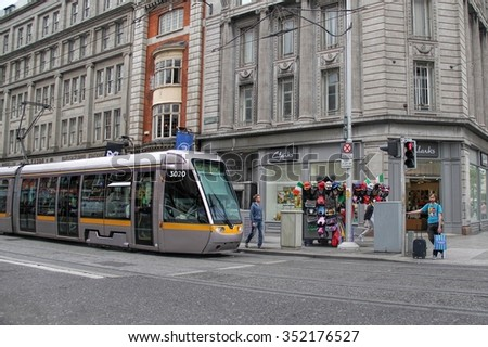 DUBLIN, IRELAND-- MAY 28, 2012: Dublin tram system called Luas stopped at  Grafton Street, the shopping district in Dublin