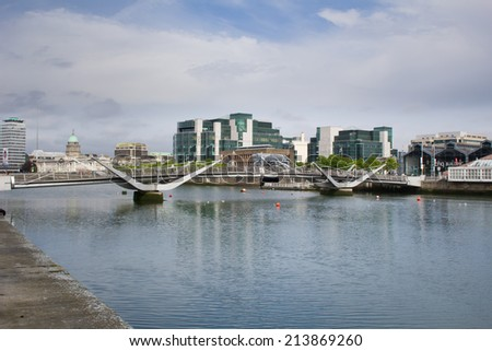 DUBLIN, IRELAND - MAY 15: Sean O'Casey bridge, which they won the IStructE Award for Pedestrian Bridges in 2006 in Dublin, Ireland on May 15, 2014 - stock photo