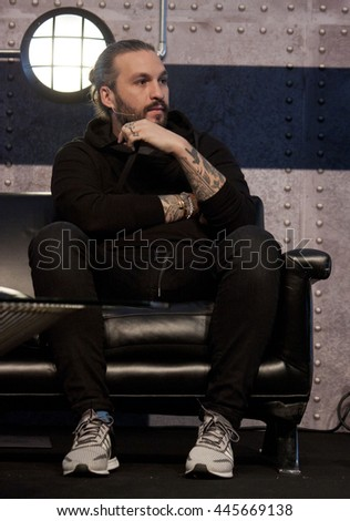 DUBLIN, IRELAND - NOVEMBER 2015: Founder of Size Records and former member of Swedish House Mafia, Steve Angello, speaks at the Web Summit in the Royal Dublin Society.