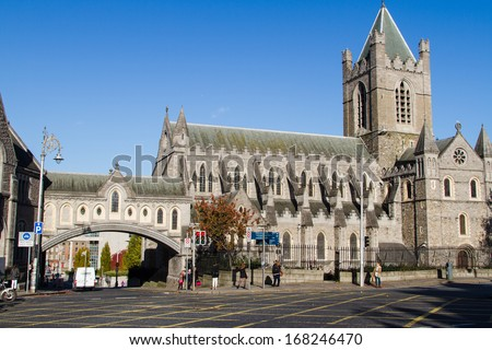 DUBLIN, IRELAND - NOVEMBER 11: The Cathedral of the Holy Trinity, commonly known as Christ Church, Cathedral of the United Dioceses of Dublin and Glendalough on November 11, 2013 in Dublin, Ireland. - stock photo