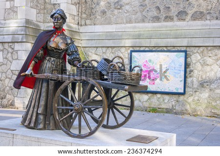 Dublin, Ireland - Oct 25: The Molly Malone statue  on Bram Stoker Week in Dublin, Ireland on October 25, 2014 - stock photo