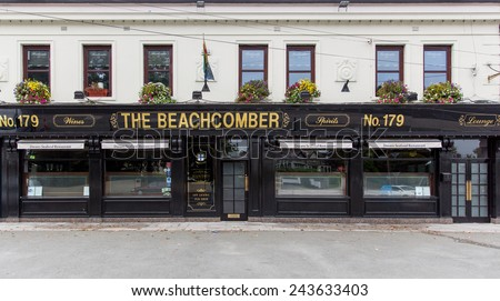 DUBLIN, IRELAND - OCTOBER 3, 2014: The Beachcomber pub. Operated for 50 years by the Duignan family in Killester, the Beachcomber also has a seafood restaurant operated by the Doran family from Howth.