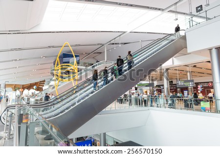 DUBLIN - 19 JULY, 2014: Major airlines flying into Terminal 2 are Aer Lingus, AA, Continental, Etihad, US Airways, Delta and Emirates. - stock photo