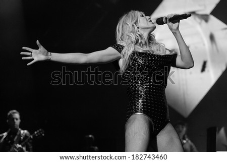 Dublin-March 1st -Ellie Goulding performs live at the O2 on March 1st 2014 in Dublin,Ireland - stock photo
