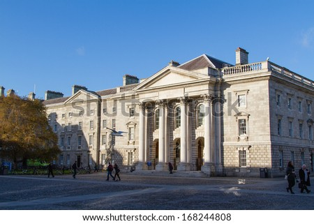 DUBLIN - NOVEMBER 11: Trinity College is Ireland's oldest university founded in 1592. Ranked as the 43rd best university worldwide. Trinity College on November 11, 2013 in Dublin, Ireland. - stock photo