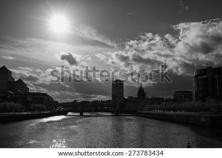 Dublin skyline taken from IFSC, Dublin, Ireland - stock photo