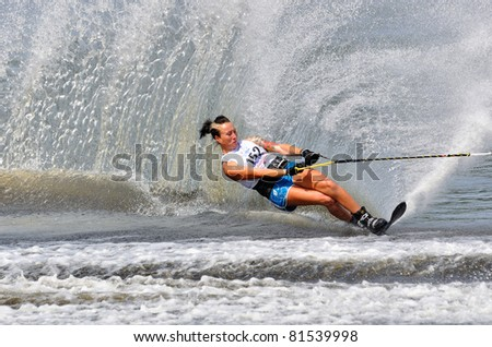 DUBNA, MOSCOW REGION/RUSSIA – JULY 23: Arthur Nicole (Great Britain), Silver medal winner, Waterski World Championship, Ladies Slalom Final on July 23, 2011 in Dubna, Russia.