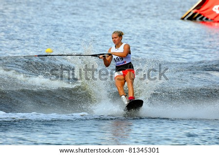 DUBNA, MOSCOW REGION/RUSSIA – JULY 19: Humphrey Cathryn (Australia), Waterski World Championship, tricks ladies competition on July 19, 2011 in Dubna, Russia.