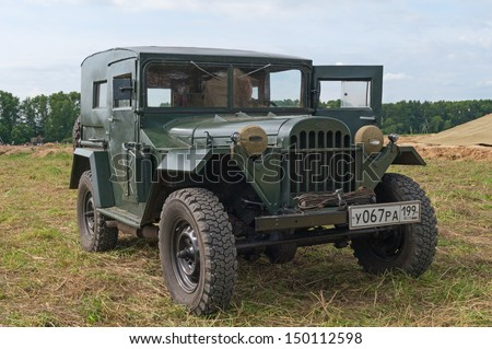 DUBOSEKOVO, RUSSIA - JULY 13: GAZ-64 offroad car is displayed during Field of Battle military history festival on July 13, 2013 in Dubosekovo, Russia  - stock photo