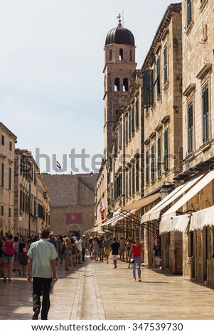 Dubrovnik, Croatia-August 24, 20214: A group of tourists on main street (Stradun) in old town of Dubrovnik, Croatia