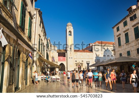 Dubrovnik, Croatia-August 15, 2016:: A group of tourists on main street (Stradun) in old town of Dubrovnik, Croatia