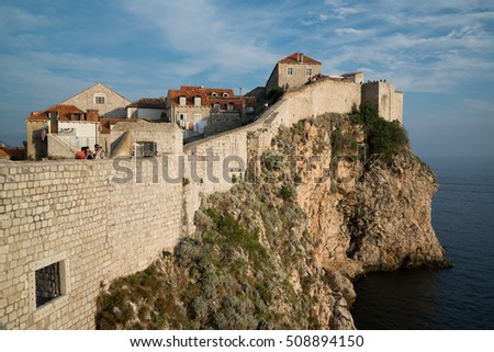 Dubrovnik, Croatia, Circa September 2016: View on old town from Dubrovnik city walls