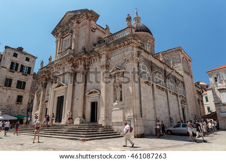 DUBROVNIK, CROATIA - JULY 13, 2016: Summer scene of the Assumption Cathedral in Dubrovnik, Croatia