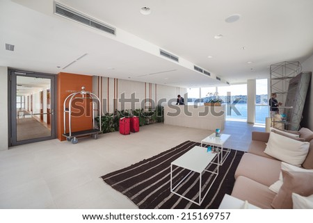DUBROVNIK, CROATIA - MAY 28, 2014: Hotel Villa Dubrovnik's anteroom and reception. Popular, luxurious modern hotel with private beach on great location.