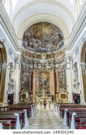 DUBROVNIK, CROATIA - MAY 5, 2012: Interior of Jesuit Church of St Ignatius. Church of St. Ignatius was created by architect Ignazio Pozzo and construction was completed in 1725.