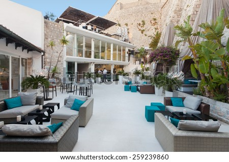 DUBROVNIK, CROATIA - MAY 28, 2014: Terrace of the Restaurant 360 degrees on old wall, the most trendiest lounge bar and restaurant in the old town. - stock photo