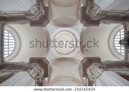 DUBROVNIK, CROATIA - MAY 26, 2014: The ceiling of the Cathedral of the Assumption, dating from the 15th century. - stock photo