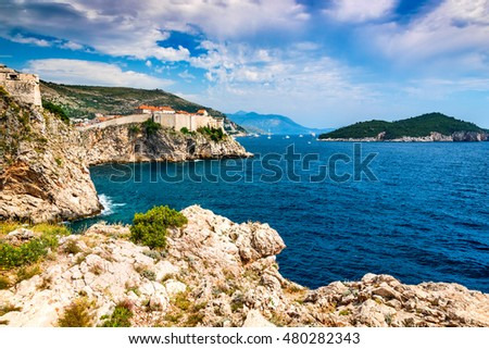 Dubrovnik, Croatia. Spectacular picturesque view on the old town of Ragusa and Lovrijenac Fortress.