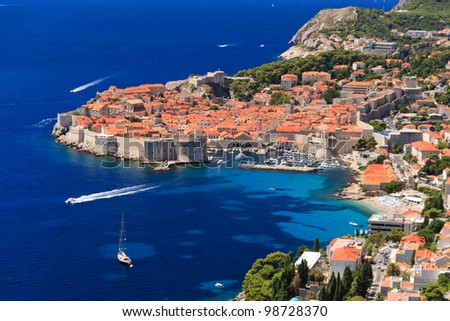 Dubrovnik, medieval town in Croatia - stock photo