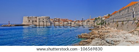 Dubrovnik old city Croatia panorama - stock photo