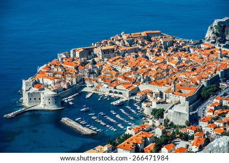 Dubrovnik old city top view in Croatia - stock photo