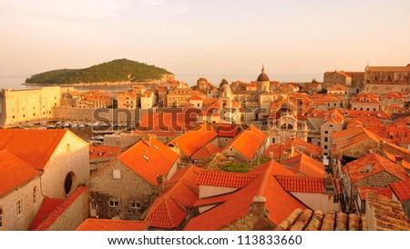 Dubrovnik Old Town at Sunset, Croatia - stock photo