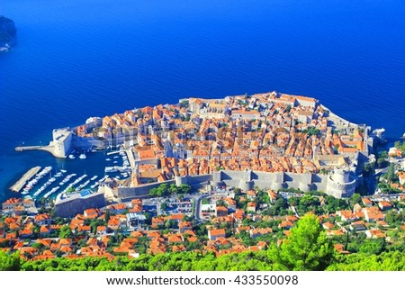 Dubrovnik Old Town, famous touristic destination on Adriatic sea, Croatia - stock photo