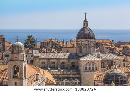 Dubrovnik Old Town panorama taken at fortified walls. The traditional Mediterranean houses with red tiled roofs. Dubrovnik - UNESCO World Heritage Site. Croatia, Europe. - stock photo