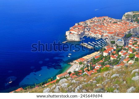 Dubrovnik old town surrounded by the Adriatic sea as seen from above, Croatia - stock photo