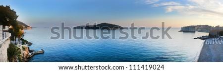 Dubrovnik panorama looking towards the island of Lokrum - stock photo