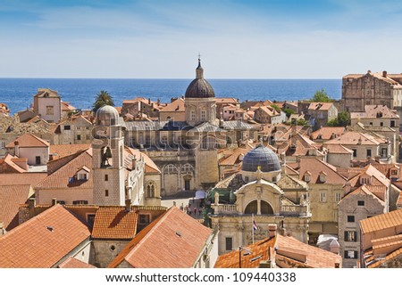 Dubrovnik Panorama taken at fortified walls. Cathedral of the Assumption of the Virgin Mary. Dubrovnik - UNESCO World Heritage Site. - stock photo